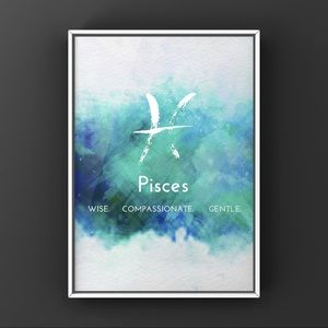Pisces zodiac sign white blue watercolor art print